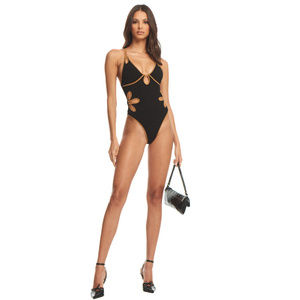 "I AM GIA ""Mae"" black & tan bodysuit — BNWT"